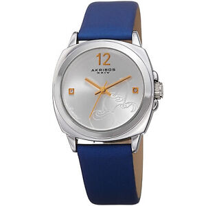 Women-039-s-Akribos-XXIV-AK902BU-Three-Hand-Diamond-Satin-over-Genuine-Leather-Watch