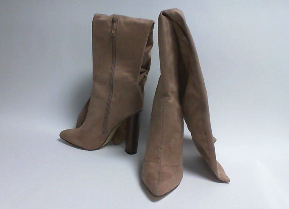 Truffle Collection Knee High Boots - Wood Effect Heel - Taupe - UK Sizes 3-7