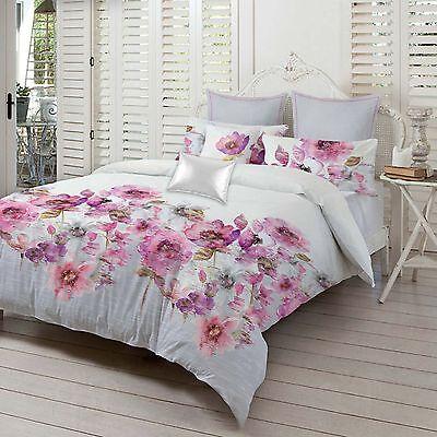 Violet Floral Premium 300 Thread Count 100/% Cotton Sateen Duvet Cover Bed Set