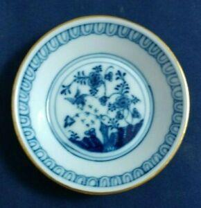 Vintage-Meissen-Blue-Rock-amp-Bird-Pattern-Butter-Pat-Fels-amp-Vogel-gold-accent