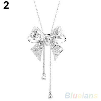 CHIC WOMENS CRYSTAL BOWKNOT LONG PENDANT NECKLACE RHINESTONE SWEATER CHAIN B52K