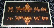 Night Lights On The Parliament Buildings Victoria B.C. Postcard Canada