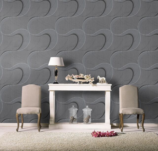 Grey,Black & Silver with Glitter, Paste the Wall, Designer,Blown Vinyl Wallpaper