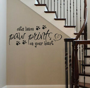 Image is loading DOGS-CATS-Leave-Paw-Prints-On-Your-Heart- & DOGS / CATS Leave Paw Prints On Your Heart Vinyl Wall Decal Sticker ...