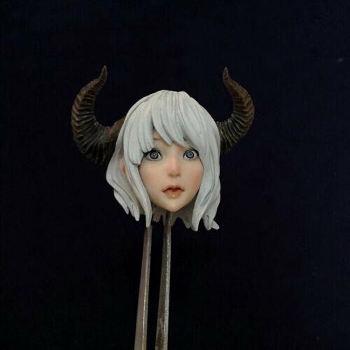 """Délicate peinture échelle 1//6 Beauté Anime Horn ELF GIRL HEAD SCULPT fit 12/"""" figure"""