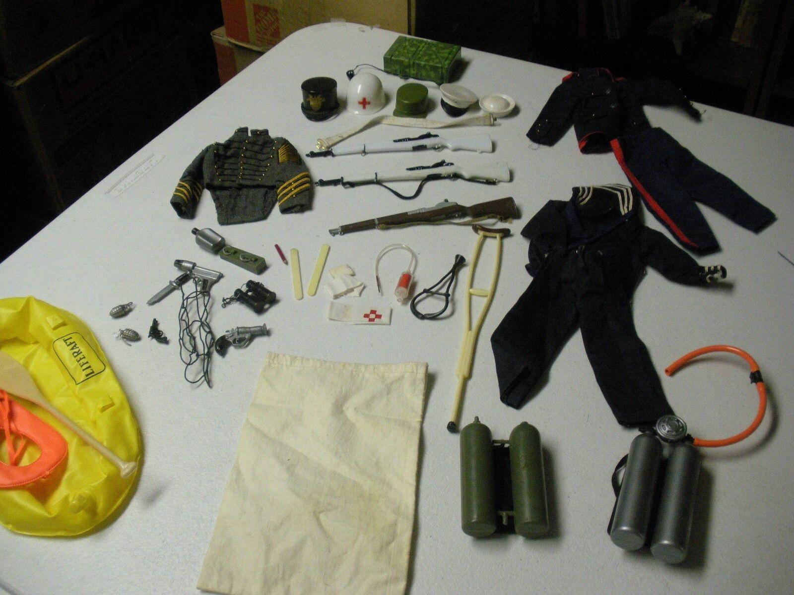 G.I. Joe Oreiginal 1960's Lot Of Original Accesories Rifles, Helmets, Uniforms +