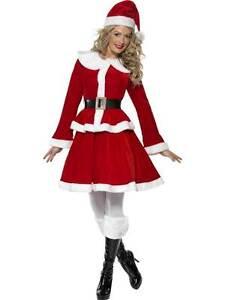 Logique Miss Santa Costume Manchon, Taille Uk 12-14, Noël Déguisements-afficher Le Titre D'origine Dans Beaucoup De Styles