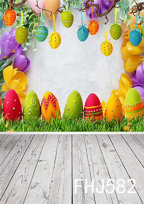 GoHeBe Happy Easter 10x7ft Vinyl Photography Background Cartoon Cute Easter Eggs Buntings Fireworks Hillside Illustration Backdrop Easter Egg Hunt Day Banner Greeting Card Wallpaper
