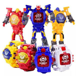 Kid manual transformation robot toys electronic watch deformed.