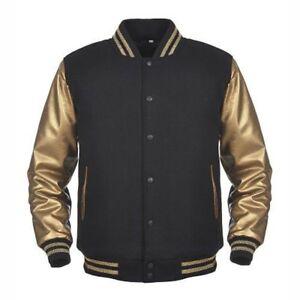 Jacket ~ 2xs kunstleer gouden Letterman wollen 4xl mouwen kunstleer van Varsity Zwarte D92IHE