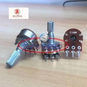 2pcs ALPHA C100K Dual Stereo Potentiometer Log Taper pots Knurled shaft push on