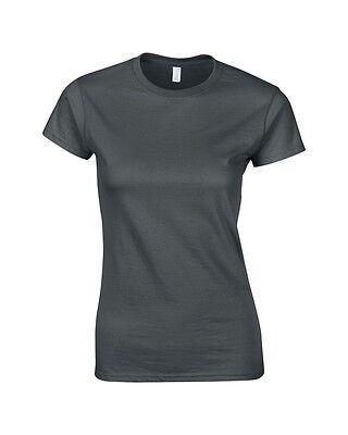 Apprensivo Gildan Da Donna Antracite Donna Morbido Cotone Stile Montato T-shirt Manica Corta-mostra Il Titolo Originale