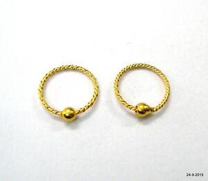 Image Is Loading 18kt Gold Earrings Upper Ear Infant Hoop
