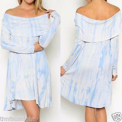 Ezra Off Shoulder Long Sleeve Hi Lo Trapeze Tie Dye Tunic Dress BOHO Blue Ivory