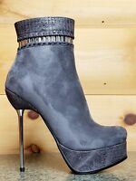 Luichiny Very Nice Gray / Snake Platform 5.5 Silver Slim Heel Ankle Boot