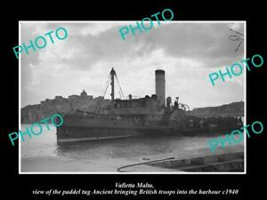 OLD-POSTCARD-SIZE-PHOTO-VALLETTA-MALTA-WWII-PADDEL-TUG-ANCIENT-WITH-TROOPS-1940