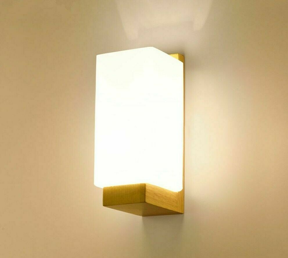 Home Wall-mounted Lamp Frosted Led Bulb Glass Wooden Style Hallway Night Lights
