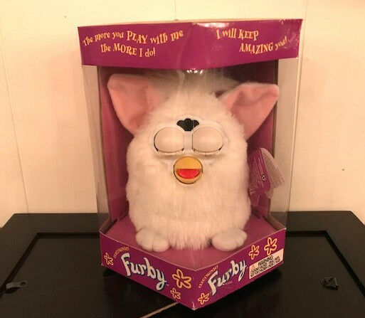 1998 WHITE FURBY w PINK EARS--NEW in SEALED BOX. BOX. BOX. Tiger Electronics Model 20b944