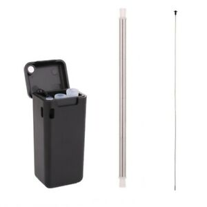 Metal-Straw-Collapsible-Reusable-Stainless-Steel-Drinking-Straw-Black-Silicone