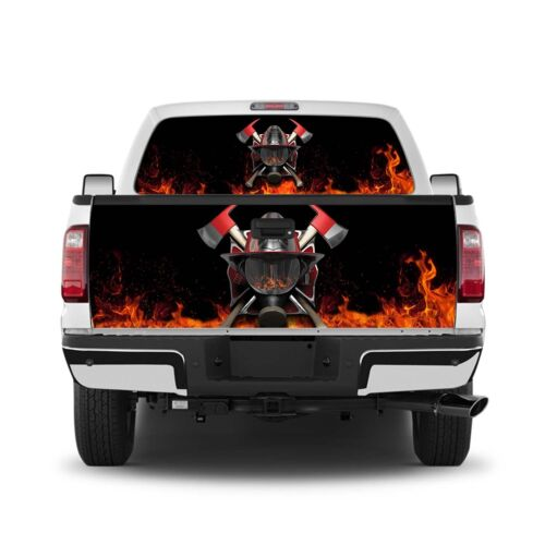 Fireman 9 Truck Window Wrap Perforated Decal or Tailgate Wrap Graphic Decal