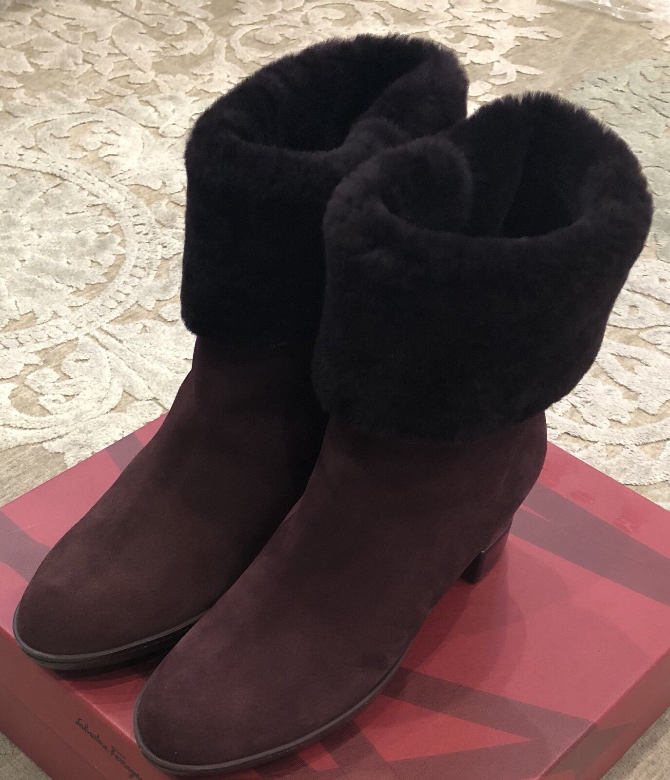 795 New Salvatore Ferragamo Womens My Cold Ladies shoes Boots Size 7 US 37