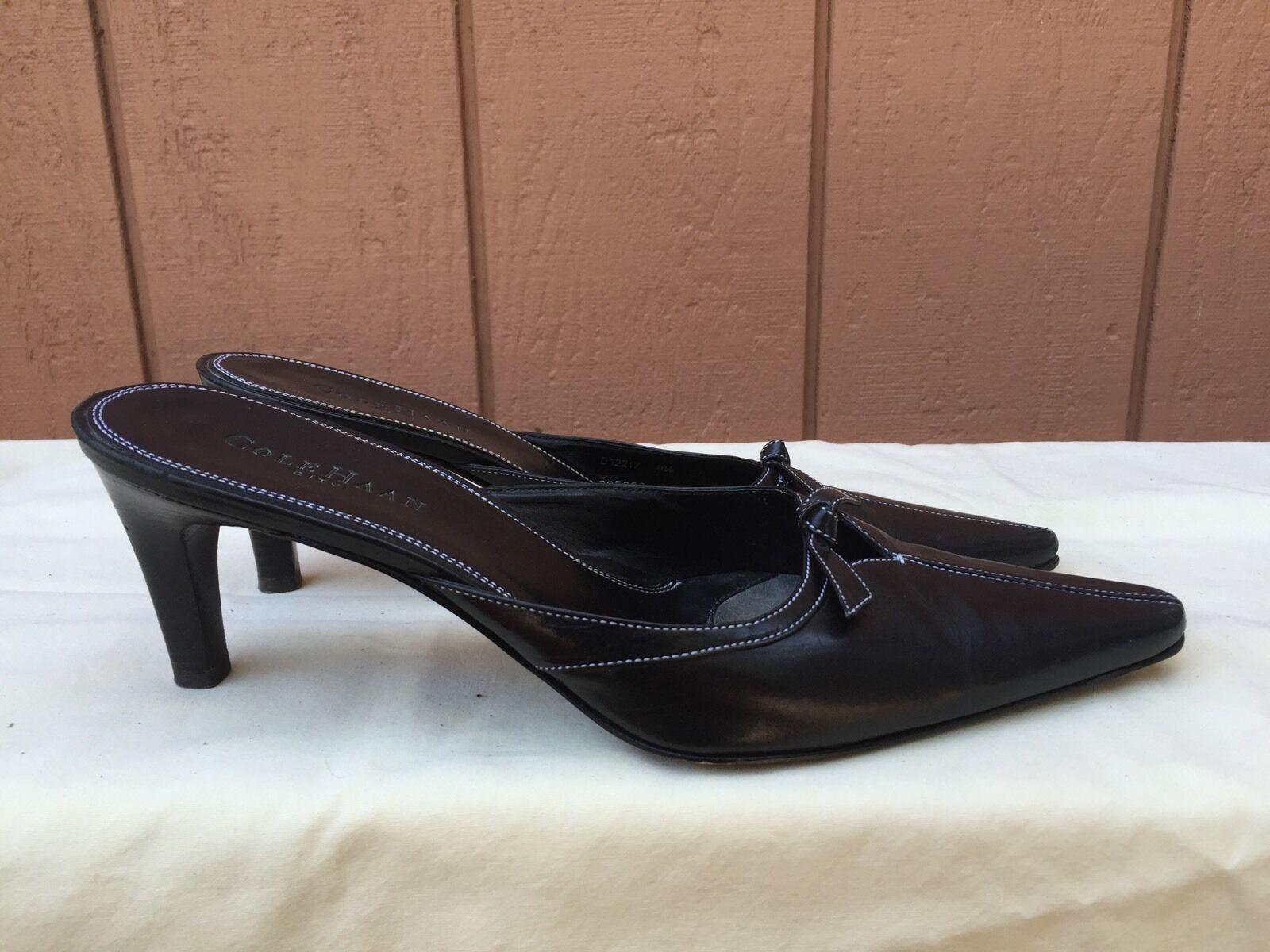 Excelente condición condición condición usada para mujer Cole Haan City Negro Cuero Calzado Antideslizante en arco Tacones mulas US 8.5 AA  marcas en línea venta barata