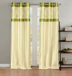 Silky 2 window curtain panels with grommets linen amp lime green floral