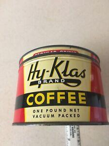 Vintage-Hy-klas-Coffee-Tin-Can-1-lb-St-Joseph-Mo-Beaty-Grocery-With-Lid-Nice