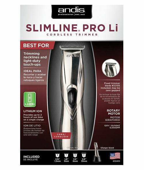 Andis Slimline Pro Li Cordless Trimmer D8 100-240 Volts - Fast Shipping