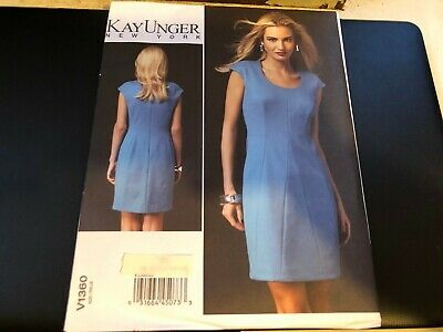 Vogue Pattern V1369 Ms KAY UNGER//NEW YORK Fitted Lined Dress w//Pleated Collar