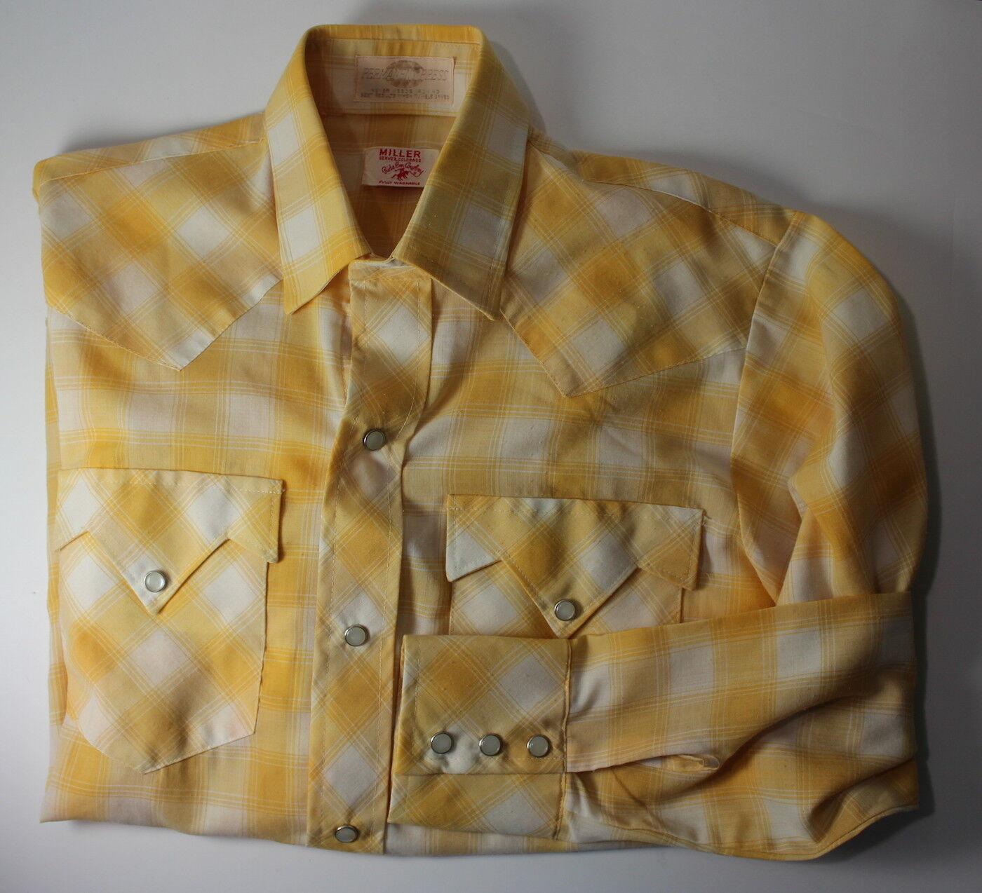 Miller Denver colorado Red Em Cowboy 16 Vintage Pearl Snap Button Western Shirt