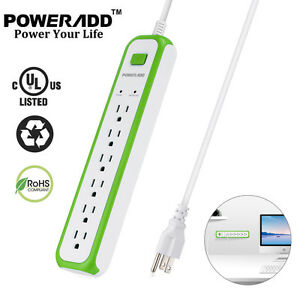 US-6-Outlet-Electrical-Power-Socket-Strip-W-Lightningproof-Surge-Protector-Plug