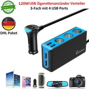 4-USB-Steckdose-Adapter-3-KFZ-Auto-Zigarettenanzuender-Verteiler-Ladegeraet-12-24V