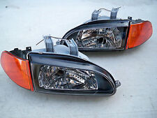 Honda Civic EG EJ JDM Black Headlights + Amber Corners + SiR City Light SI EX HB