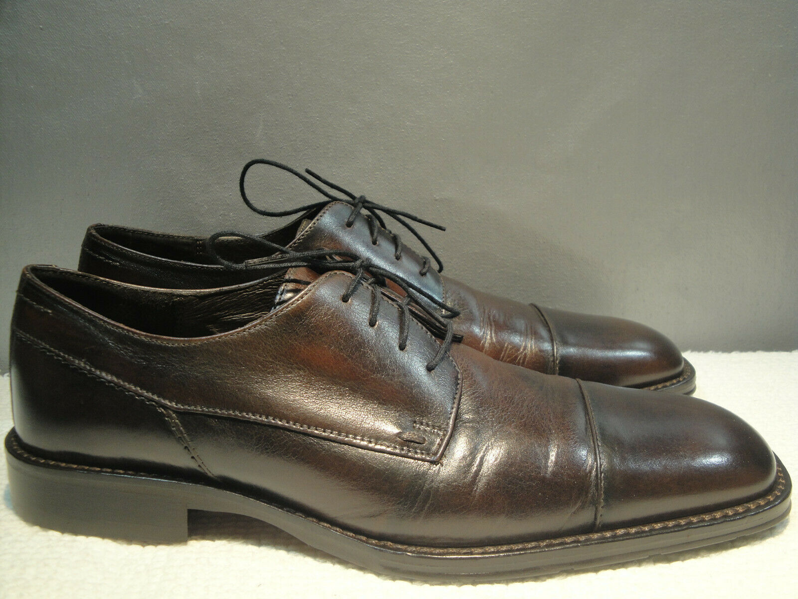 MENS 10 M JOHNSTON MURPHY ROMANIA BROWN LEATHER CAP TOE OXFORD SHOES