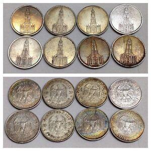 8 Stück Silbermünzen 5 Reichsmark Münze 1934 1935 Hindenburg Sehr