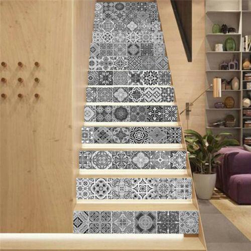 13pcs 3D Céramique Vinyl escalier contremarche escalier Sticker Murale Decal Wall