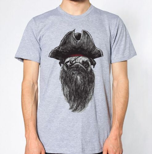 Dog Pirate New T-Shirt Funny Humor Aye Top Puppy Pug Animal Lover Graphic Design