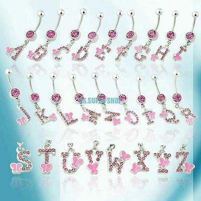 Dangle Letter Crystal Gemstone Navel Belly Button Bar Ring Body Piercing Jewelry