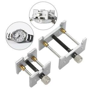 Nuetzlich-2-Sitze-Uhr-Bewegung-Clip-Halter-Basis-Uhrmacher-Fall-Schraubstock-Reparatur-Werkzeug