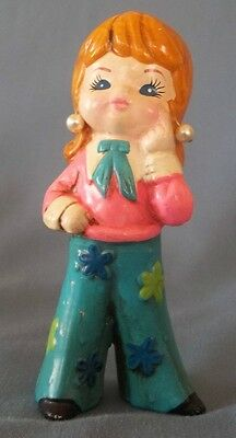 Vtg Retro 1973 Flower Child Mod Girl Decorative Figurine Bell Bottoms Ceramic