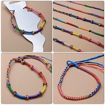 Fashion Jewelry Smart Assorted Rainbow Coloured Knotted Or Plain Plaited Cord Tie Anklet Jewelry & Watches