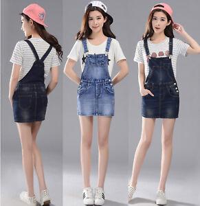 Womens-Denim-Dungaree-Dress-Ladies-Slim-Jean-Pinafore-short-Overall-Skirt-Blue