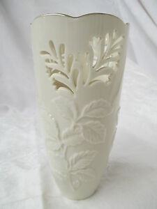 Vintage Lenox Vase Reticulated Floral Gold Rim Ebay