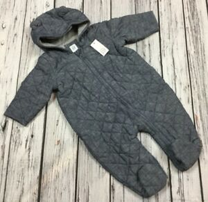 Baby-Gap-Boys-0-3-Months-Denim-Blue-Quilted-Romper-Jumpsuit-Coat-Nwt