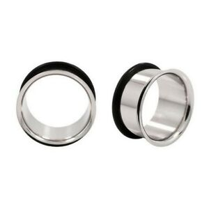 PAIR-3mm-to-44mm-BIG-GAUGES-Surgical-Steel-Single-Flared-Tunnel-Ear-8g-to-1-3-4-034