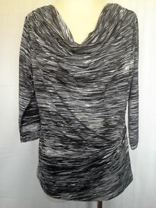 Ladies-3-4-Sleeve-Stretch-Black-White-Cowl-Neck-Blouse-Shirt-Top-Noni-B-Sze-M-12