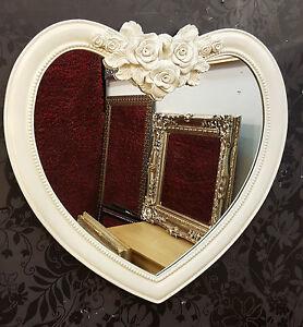 Forma cuore specchio da parete ornato cornice francese incisa design rosa ebay - Specchio a cuore ...
