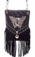 Winged Sugar Skull~Fringed Mini Crossbody Bag Purse~Studs~Gothic~SteamPunk~Black