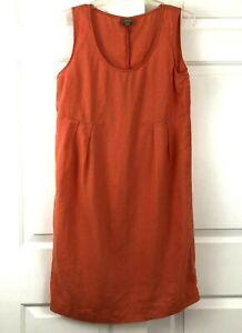 J-Jill-Womens-Sleeveless-Linen-Knee-Sheath-Dress-Empire-Waist-Orange-Size-Small